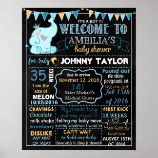 Elephant Baby Shower Party chalkboard sign Boy