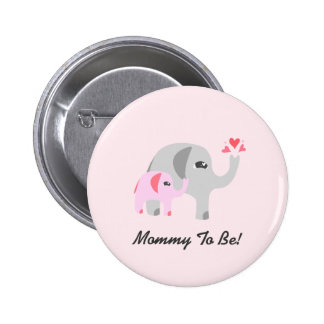 Elephant Baby Shower Pink 6 Cm Round Badge
