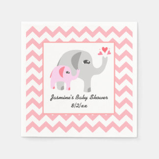 Elephant Baby Shower Pink and White Disposable Serviette