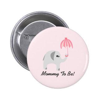 Elephant Baby Shower Pink Umbrella 6 Cm Round Badge