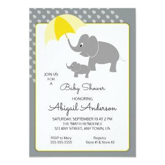 Elephant & Baby, Umbrella Baby Shower Invitation