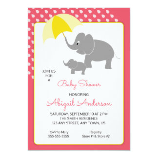 Elephant & Baby, Umbrella, Pink Baby Shower Invite