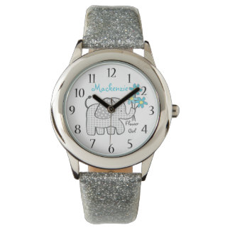 Elephant Gingham Flower Girl Watch