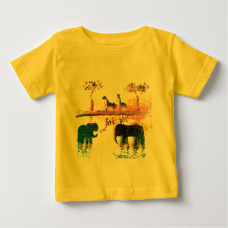 Elephant, Giraffe Safari Sunset Art Baby T-Shirt