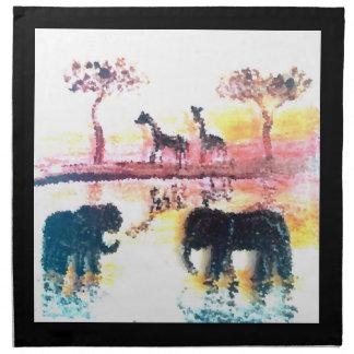 Elephant, Giraffe Safari Sunset Art Napkin