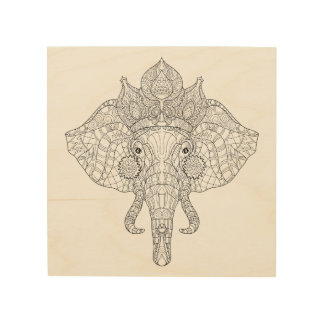 Elephant Head Zendoodle 5 Wood Print