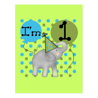 Elephant I'm 1 First Birthday Tshirts and Gifts Postcard