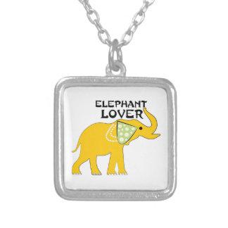 Elephant Lover Square Pendant Necklace