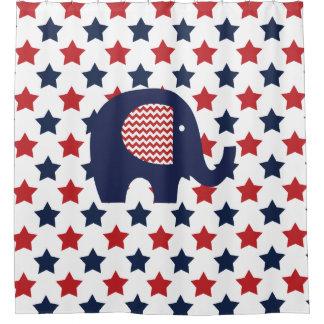 Elephant on Patriotic USA Stars Shower Curtain