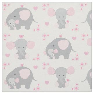 Elephant Pink Grey Safari Animal Nursery Baby Girl Fabric