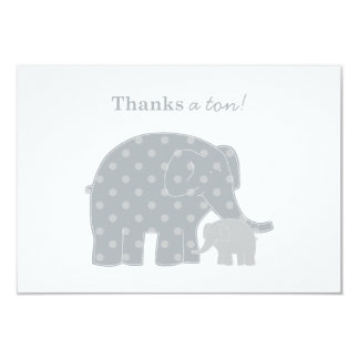 Elephant Thank You Flat Notes | Silver and Gray 9 Cm X 13 Cm Invitation Card