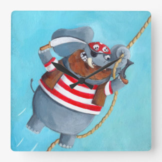 Elephant - The Best Pirate Animal Square Wall Clock