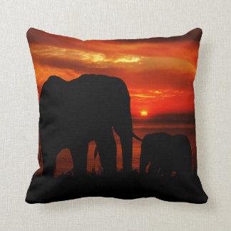 Elephants at Sunset Cushion