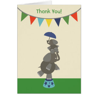 Elephants Baby Shower Thank You - Blue Cards