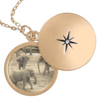 Elephants - by Fern Savannah Locket Necklace
