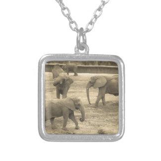 Elephants - by Fern Savannah Silver Plated Necklace