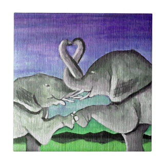 elephants in love small square tile