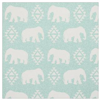 Elephants - mint fabric