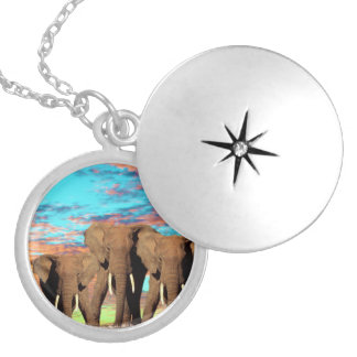 Elephants On A Opal Sunrise Morning, Silver Plated Necklace