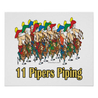 eleven pipers piping  11th day of christmas poster