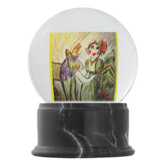 elf and unicorn art one snow globes