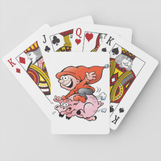 Elf Riding A Pig Playing Cards
