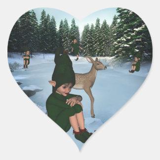 ElfMagic Christmas Snow Elf Chris Miss Sticker Heart Sticker