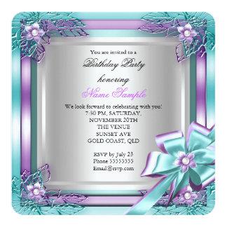 Elite Elegant Birthday Party Teal Purple Silver Card