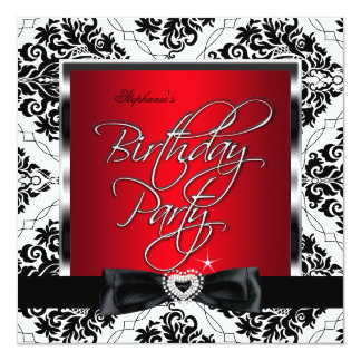 Elite Red Damask Silver Black White Birthday Party 13 Cm X 13 Cm Square Invitation Card