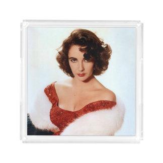 Elizabeth Taylor perfume tray, clear acrylic