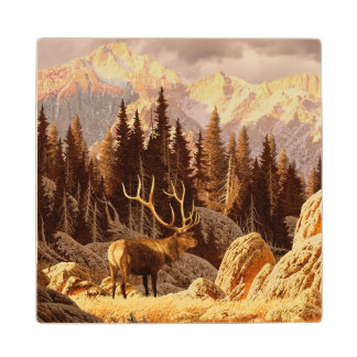 Elk Bull Wood Coaster
