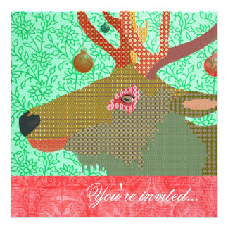 Elk Ornament Turquoise Red II Custom Invite
