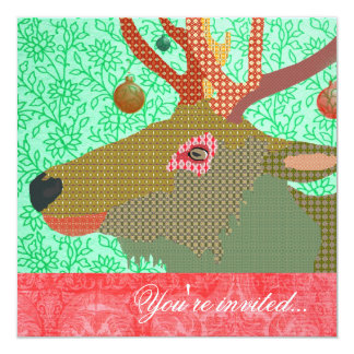 Elk Ornament Turquoise Red II 5.25x5.25 Square Paper Invitation Card