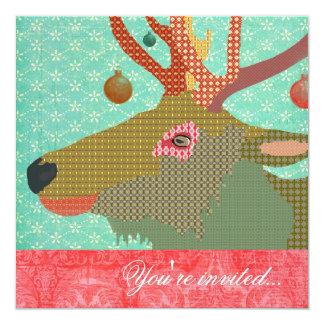 Elk Ornament Turquoise Red 5.25x5.25 Square Paper Invitation Card