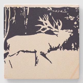 Elk Wildlife Antlers Hunting Sandstone Coaster