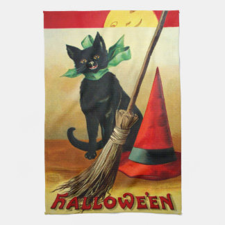 Ellen H. Clapsaddle: Black Cat, Broom and Hat Tea Towel