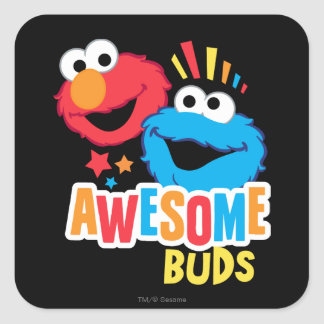 Elmo and Cookie Awesome Buds Square Sticker