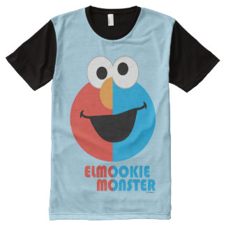 Elmo and Cookie Half Face All-Over Print T-Shirt