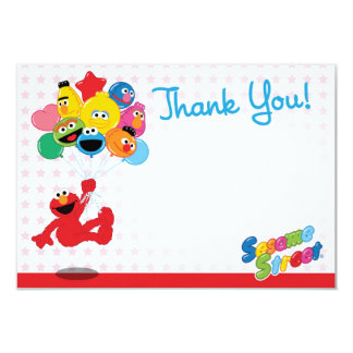Elmo and Pals Birthday Balloons Thank You 9 Cm X 13 Cm Invitation Card