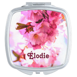 """""""Elodie"""" Name Cherry Blossom Square Mirror Makeup Mirrors"""