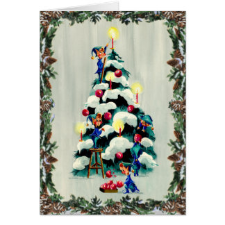 ELVES TRIMMING TREE & WREATH by SHARON SHARPE Greeting Card