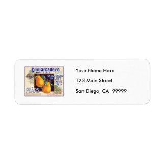 Embarcadero Pears Fruit Crate Label Return Address Label