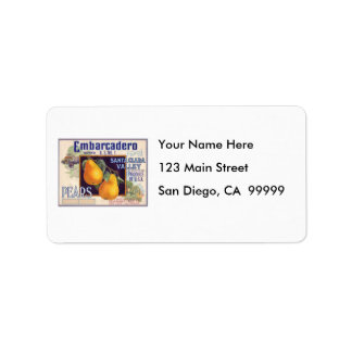 Embarcadero Pears Fruit Crate Label Address Label