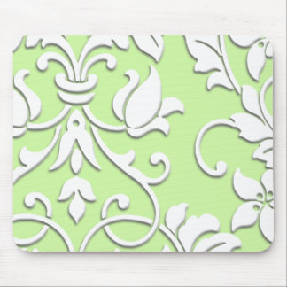 Embossed Damask, White Mouse Mat