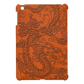 Embossed Dragon on Tangerine Leather Texture iPad Mini Case