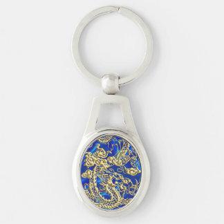 Embossed Gold Dragon on Blue Satin Key Ring