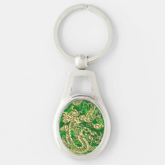 Embossed Gold Dragon on Green Satin Textured Print Key Ring