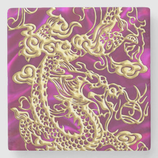 Embossed Gold Dragon on Magenta Satin Stone Coaster