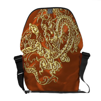 Embossed Gold Dragon on Orange Satin Print Courier Bags