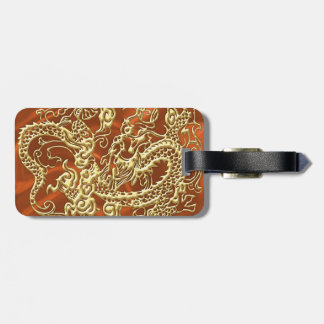 Embossed Gold Dragon on Orange Satin Print Luggage Tag
